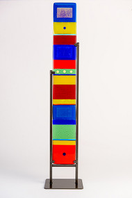 "Large Standing Totem in Spectrum by Hands On Art Glass. 5""x36"", fused glass in a grey metal stand. Please call our galleries to see which pieces are currently on hand."