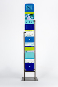 "Large Standing Totem in Water by Hands On Art Glass. 5""x36"", fused glass in a grey metal stand. Please call our galleries to see which pieces are currently on hand."