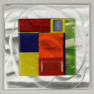 "Wall Square in Spectrum by Hands On Art Glass. 6""x6"", fused glass on aluminum. Please call our galleries to see which pieces are currently on hand."