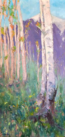 """Summer's End"" by Cindy Carrillo.  Oil on canvas. 15x30 inches"