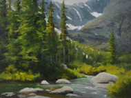 """Alpine Summer"" by Terri Sanchez.  Oil on Canvas.  Framed.  12x16 inches."