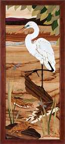 """Great Egret"" by Jeff Nelson, Wood Marquetry, 18x40."