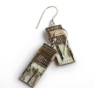 "1W Classic Wrap by Tessoro Jewelry, natural birchbark, recycled copper, copper wire wrap, sterling silver ear wires, 1"" x 3/8""."
