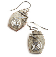 "CW1 Classic Contempo Swirl by Tessoro Jewelry, natural birchbark, sterling silver, sterling silver ear wires, 3/4"" x 1/2""."