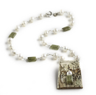 "SHOWGP Grossular Garnet and Freshwater Pearl Necklace by Tessoro Jewelry, natural birchbark pendant, grossular garnet and freshwater pearls linked with sterling silver, sterling silver toggle clasp 18"", pendant 2 x 1 1/4""."