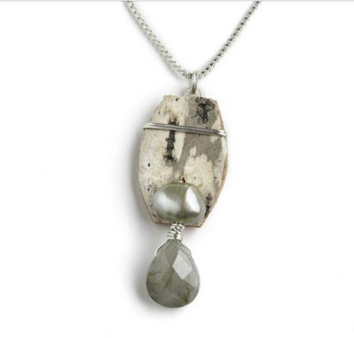 "LN2 Salon Labradorite and Pearl Necklace by Tessoro Jewelry, natural birchbark, labradorite and freshwater pearl, sterling silver box chain 18"", pendant is 1 1/4"" x 1/2""."
