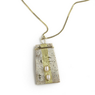 "EN7 Etruscan Pearl and Gold Leaf Necklace by Tessoro Jewelry, 23k gold leaf on natural birchbark, freshwater pearls, vermeil box chain 18"", pendant is 1 1/4"" x 3/4""."
