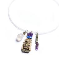 """QAN2Q Salon Amethyst, Pyrite, and Lapis Necklace by Tessoro Jewelry, natural birchbark, purple amethyst, lapis lazuli, pyrite and rose quartz charms, clear rubber cord 17"""" with sterling silver lobster clasp, pendants are 2"""" x 3/4""""."""