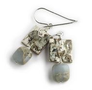 "AW9 Ancient Impression Jasper Earrings by Tessoro Jewelry, natural birchbark, impression jasper, sterling silver ear wires, earrings are 1"" x 1/2""."