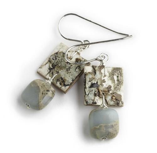 "AW9 Ancient Impression Jasper Earrings by Tessoro Jewelry, natural birchbark, impression jasper, sterling silver ear wires, earrings are 1"" x 1/2""."