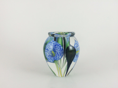 """Mini Calla Lily Vase in Veined Cobalt"" by Scott Bayless."