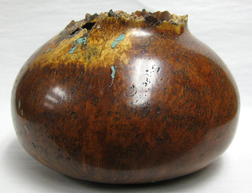 Cherry Burl Vase with Turquoise Inlay — Jerry Crowe