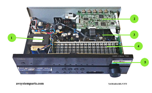 Yamaha RX-v373 Parts    $49.95   1   Transformer Bando   BD31 YE257 BEH-fl9    $49.95   2   Power PCB OPE3 120V US   YE119-3    $74.95   3   HDMI PCB   ZA30540  YE112    $149.95   4   Main PCB 5.1Ch AMP     YE118    $44.95   5   Front Display and Keyboard PCB (Cover damaged-included for free)    RX-V373    44.95      YAMAHA RX-V373 parts