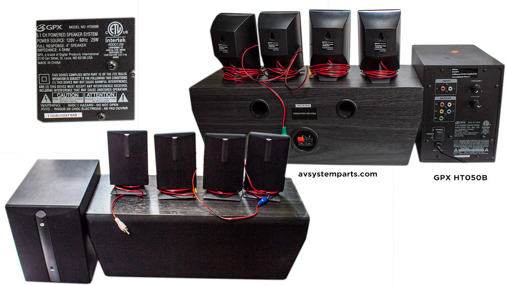 GPX HT8B 8.8 Channel Home Theater Speaker System