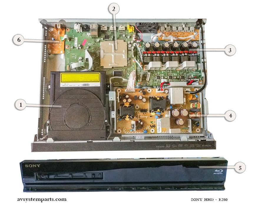 Sony HBD-E280 Parts:BPX-6,1-883-010-11,fhc20322aj,1-474-270-11