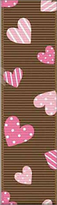 Grosgrain Ribbon Pink Hearts on Brown 30% OFF