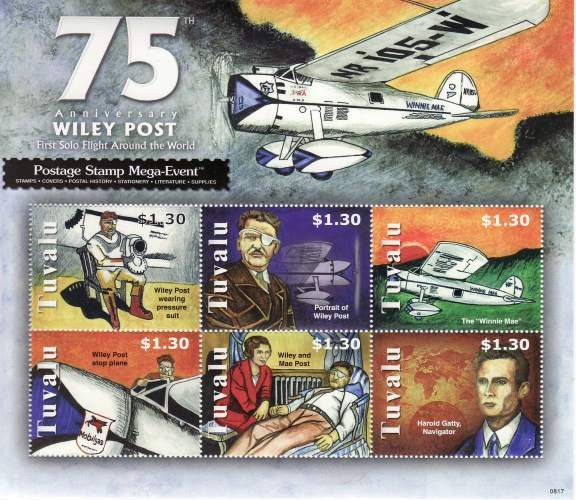 Wiley Post Flight Mint Stamp Sheet TUV0817