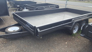 "14 X 6 Heavy Duty Tandem Trailer 12"" Sides Drop Front, Full checker plate with jockey wheel and spare wheel"