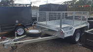 "8 X 5 fully Welded heavy Duty Galvanised Caged Trailer 8"" Jockey Wheel  Checker plate  Floor 600mm Cage New Rims and Tyres"