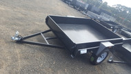 "7 X 5 Trailer Checker Plate Floor Drop Front 12"" Sides With Light Truck Tyres"