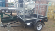 "6 X 4 3ft Cage Trailer 750kg GVM 12"" Sides Checker Plate Floor Fixed Front with jockey wheel and spare wheel"