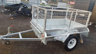 "6 X 4 Galvanised Tipper cage trailer 750kg, 12"" Sides checkerplate floor, Jockey Wheel, Drop front"