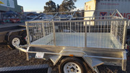 "7 X 5 Galvanised Tipper Cage Trailer with roof pitch 750kg GVM, 12"" Sides, Checkerplate Floor, Jockey Wheel, Drop Front"