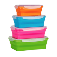 COLLAPSIBLE SET OF 4 RECTANGULAR CONTAINERS WITH LIDS