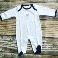 Paty footed sleeper with bear embroidery/navy trim