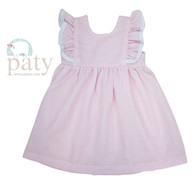 Paty Girls Seersucker Ruffle dress with trim