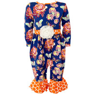 Ann Loren Girls Boutique Butterfly and Polka Dot Romper