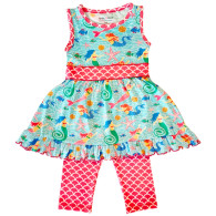 Ann Loren Girls Mermaid Sea life Dress & Leggings Set