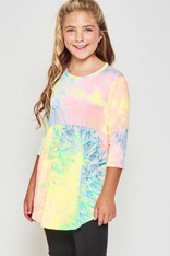 Tween Girls rainbow tie dye 3/4 sleeve ruffle tunic