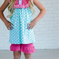Adorable Sweetness girls pink and teal short and top set