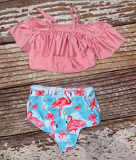 Girls two piece flamingo  swimsuit