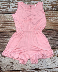 Girls Blush Pink ruffled shorts romper