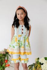 Adorable Sweetness girls lemon print top and bottoms set