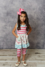 Adorable Sweetness girls Pink/Teal Stripe Floral Pocket Tank & Capri Pants