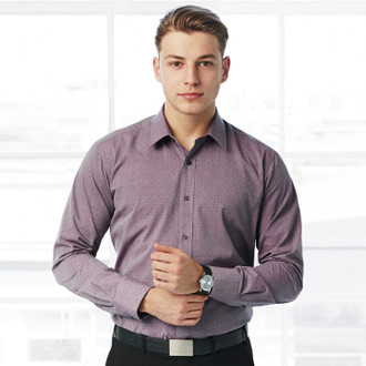 Mens Plum Trend Long Sleeve Shirt