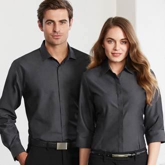 Hemingway Shirting, Models wear Slate