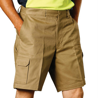 Cotton Drill Cargo Short in Khaki