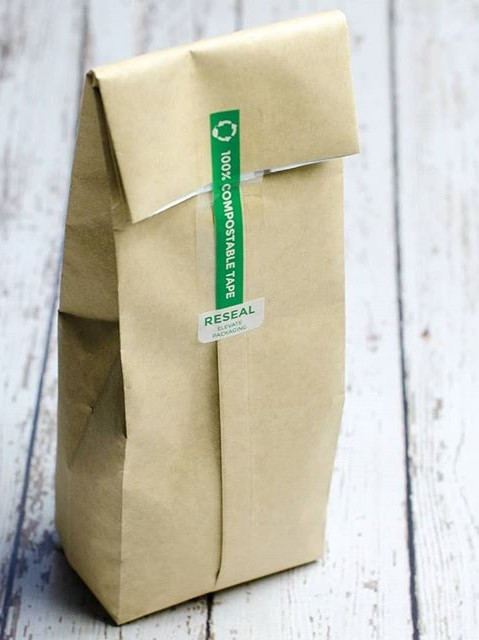 Compostable Re-seal Sticker on Packaging
