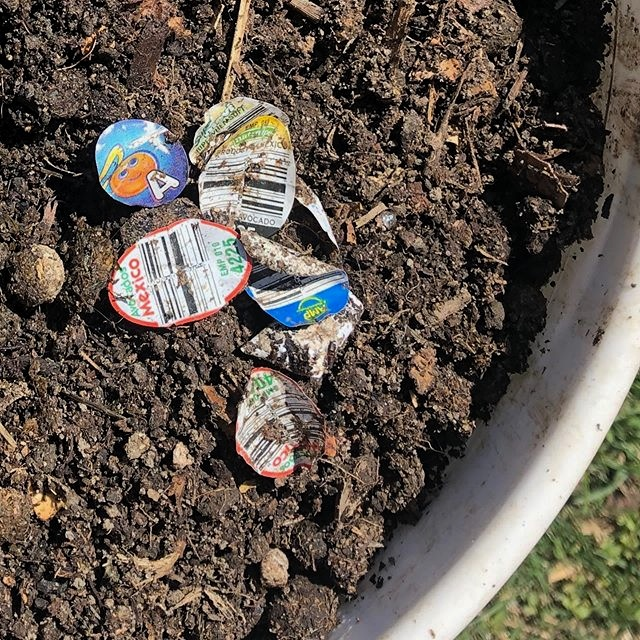 Plastic Produce Stickers mixed with compost