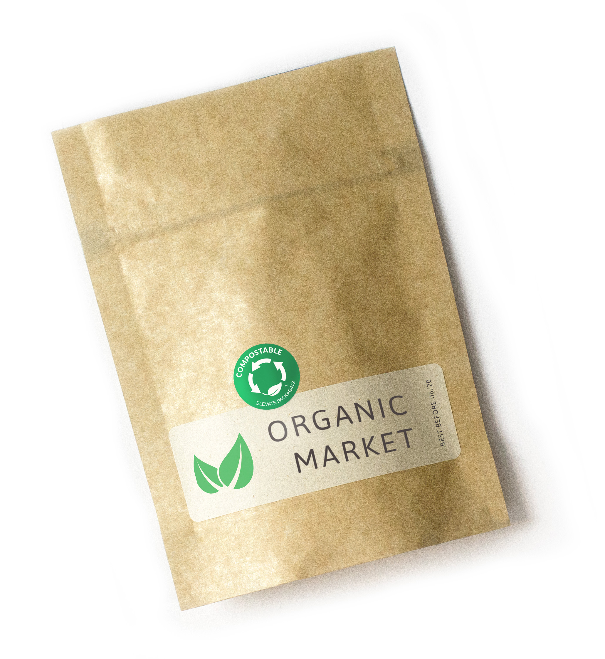 Compostable Pouch with Compostable Label