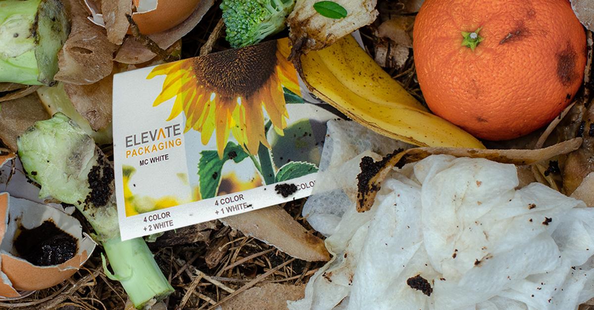 Compostable sticker in compost bin