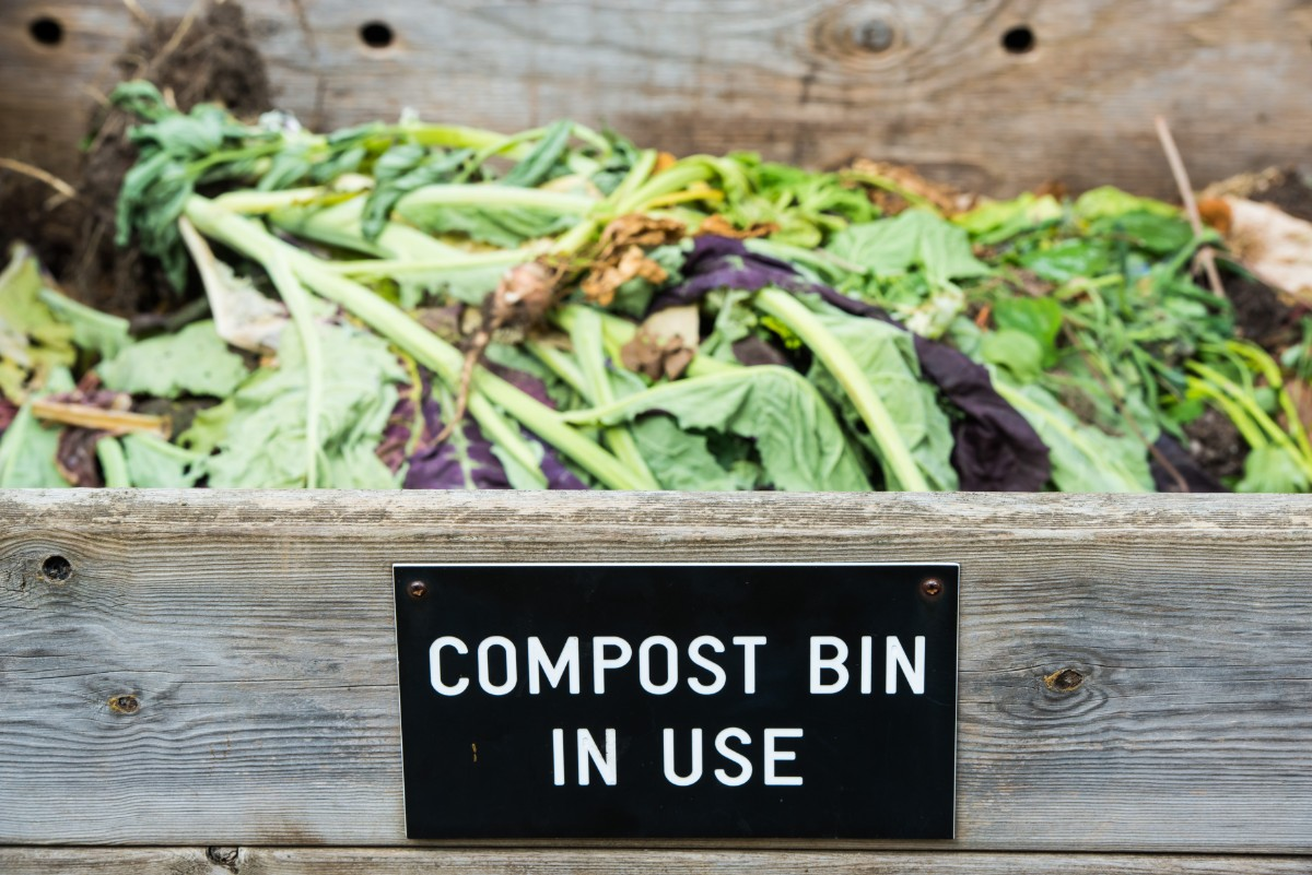 Outdoor Compost Bin with sign reading Compost Bin in Use