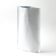 12oz White Compostable Stand Up Pouches with Valve