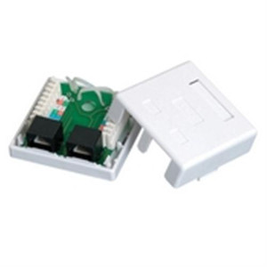 CAT5E Surface Mount Box; Dual RJ45; 8P8C; Loaded; 110IDC; 568A/B; White (questt_NSB-5130)
