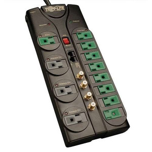 """""""Eco-Surge 12-Outlet Home/Business Theater Surge Protector, 10-ft. Cord, 3600 Joules - Accommodates 4 Transformers"""" (tripp_AV1210SATG)"""