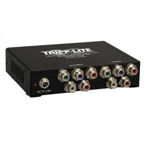 """4-Port Component Video + Stereo Audio over Cat5/Cat6 Extender Splitter, Box-Style Transmitter"" (tripp_B136-004)"
